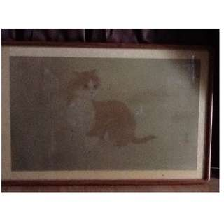 Paintings of Resting Cat in Wooden Frame