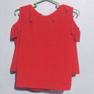 Semi-cropped Bloody Red Top