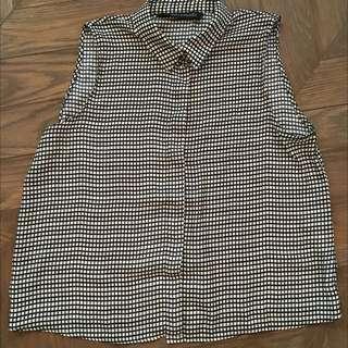 Zara Checkered Silk Crop Top