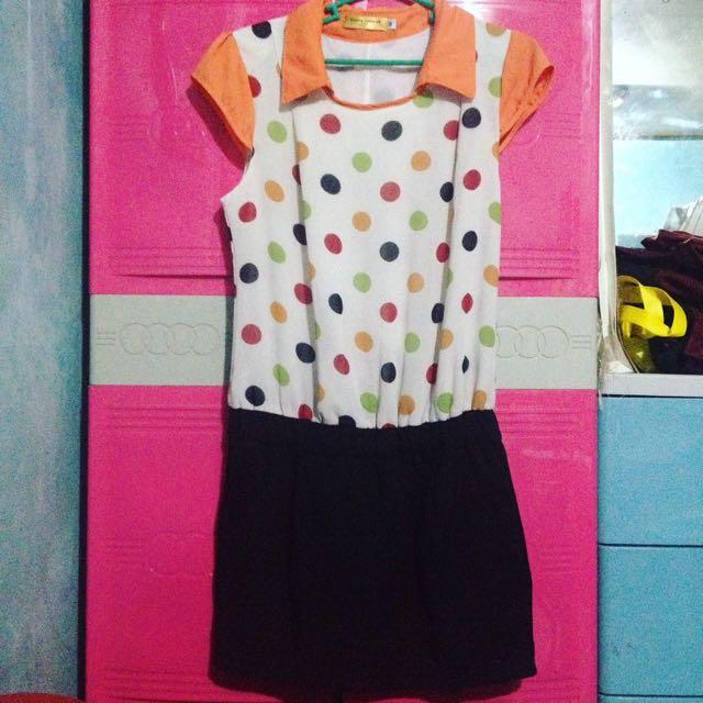 1 Pc Collar Polka Dot Dress