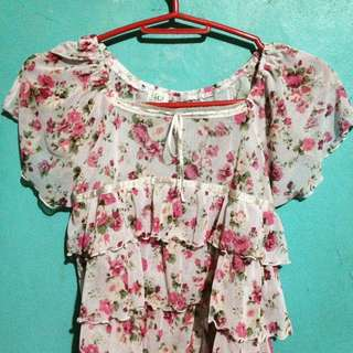 Floral Pink Ruffled Blouse