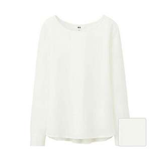 BN Uniqlo Rayon Long Sleeve T Blouse