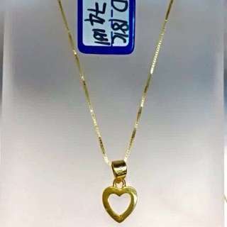 18K Solid Yellow Gold With Heart Pendant