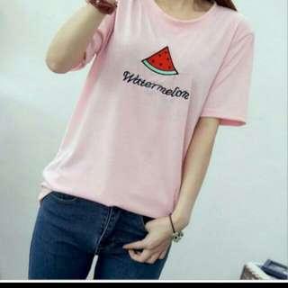 👉👉西瓜粉色短袖t