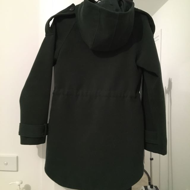 ASOS Petite Uk2 Dark Olive Green Coat Jacket Gold Zip