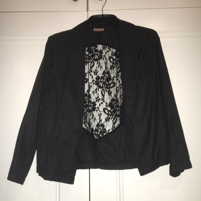 Black Blazer With Lace Detailing