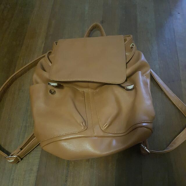 Brown/bage/tan Leather Backpack (Synthetic)