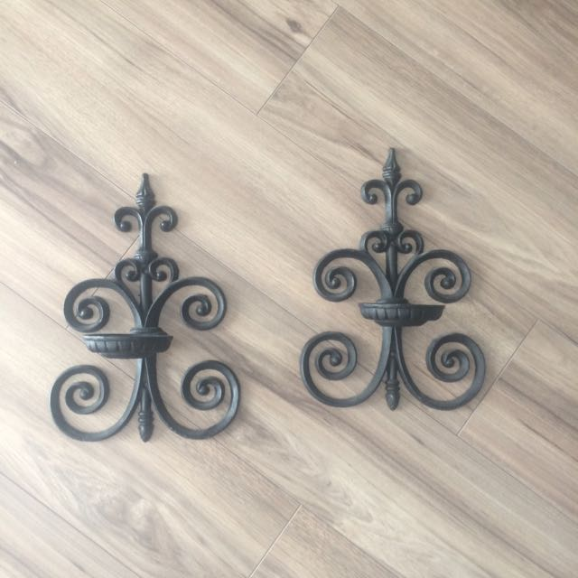 Cast Iron Wall Sconce Candle Holders