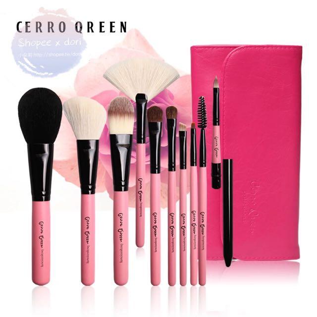 現貨Cerro Qreen 10支動物毛化妝刷具+磁扣刷具包