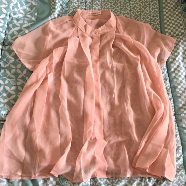 Cocolatte Baby Pink Sheer Top