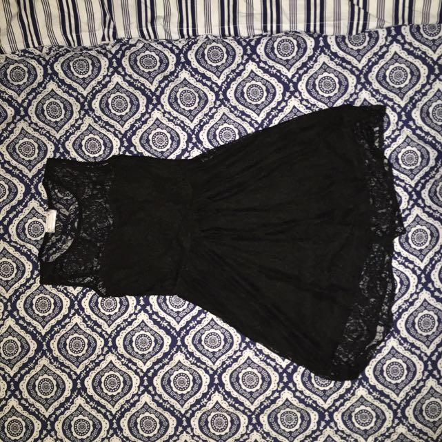 Cute Black Lace Flowy Dress