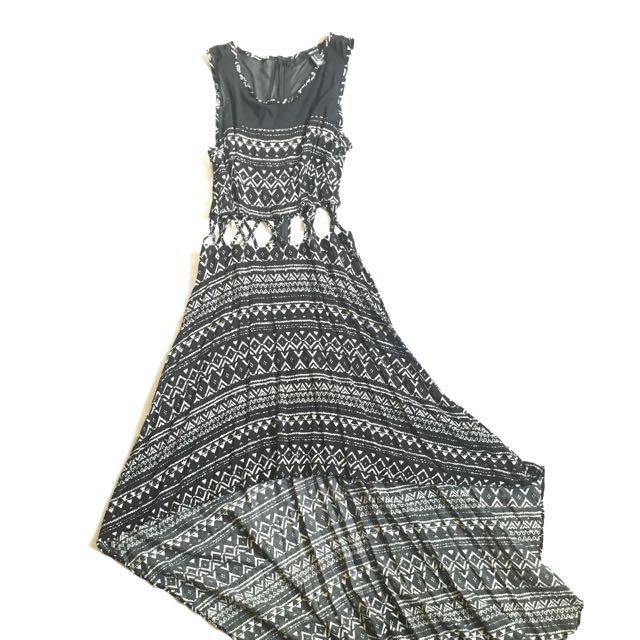 F21 Black Aztec Dress (Short Front Long Back)