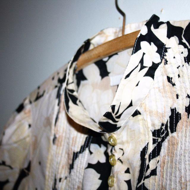 Floral print cotton smock shirt. Size 16.