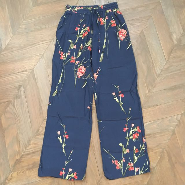Floral Silk Wide Legged Pants