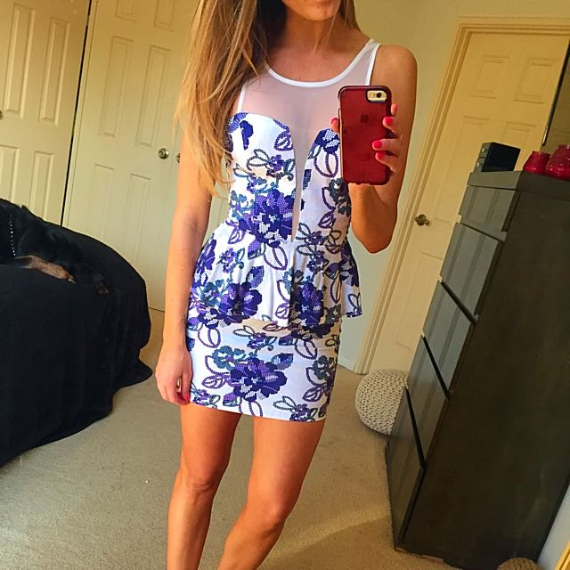 Gorgeous White And Purple Floral Dress