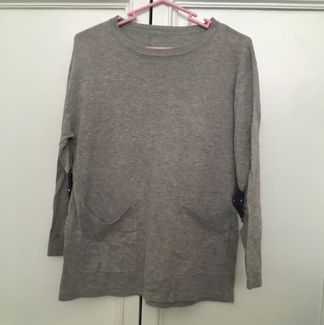 Gray Pullover With Arm Patch