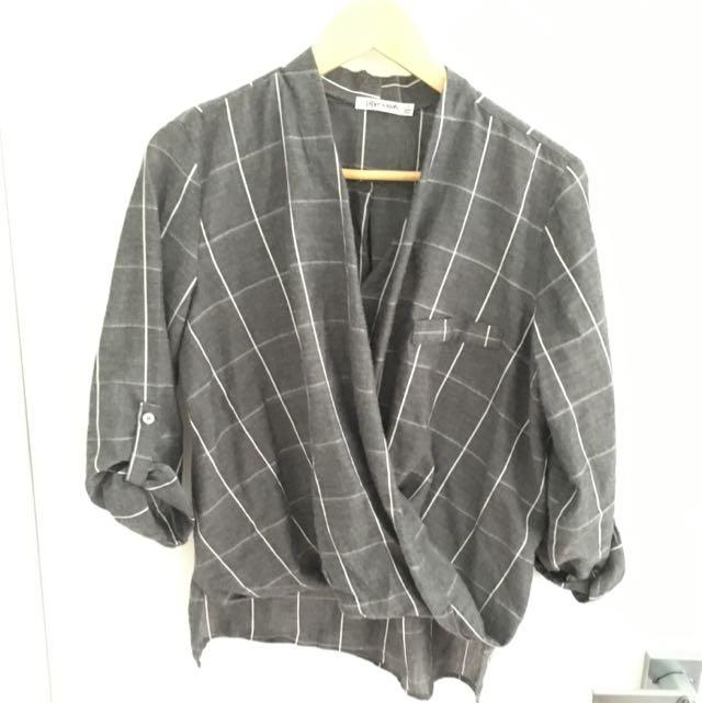 Grey & White Wrap Shirt