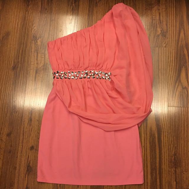 MoMoCo桃粉色單肩雪紡洋裝