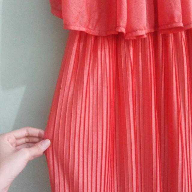 Orange Pleated Sleeveless Dress