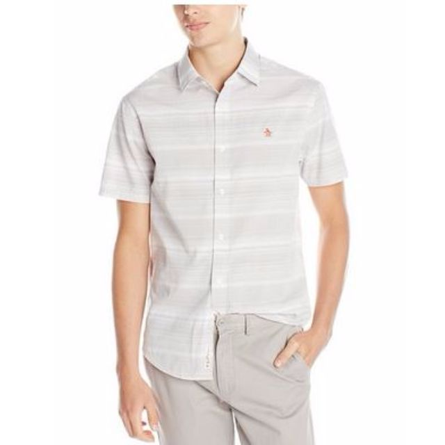 Penguin Men's Short-Sleeve Striped Woven Shirt