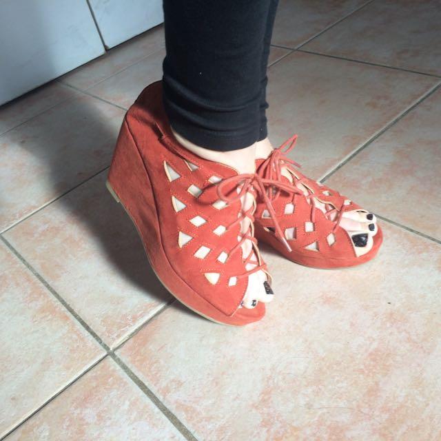 Size 8 Women's Shoes Wedge Platform Lace Up Heels