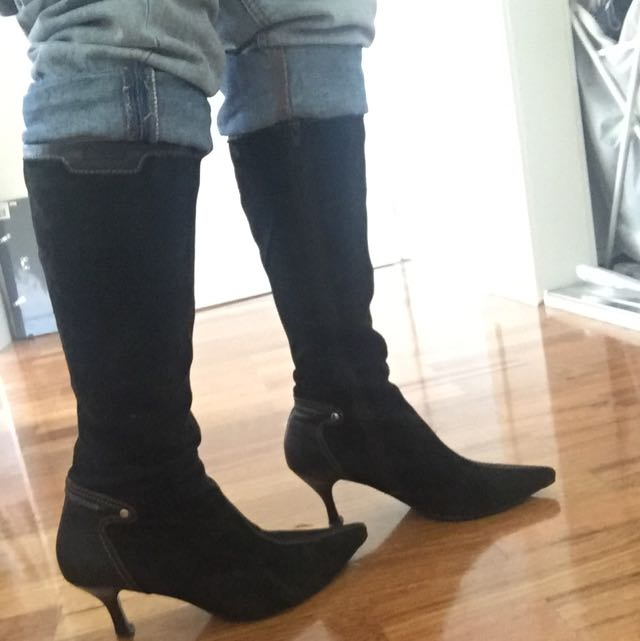 Suede And Leather Boots Size 37
