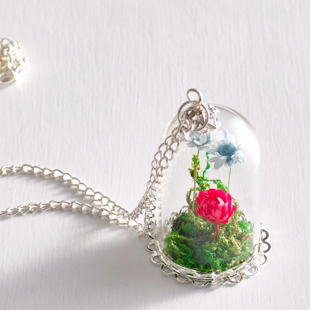 Terrarium Necklace Bell Glass Necklace Flower Necklace Charm
