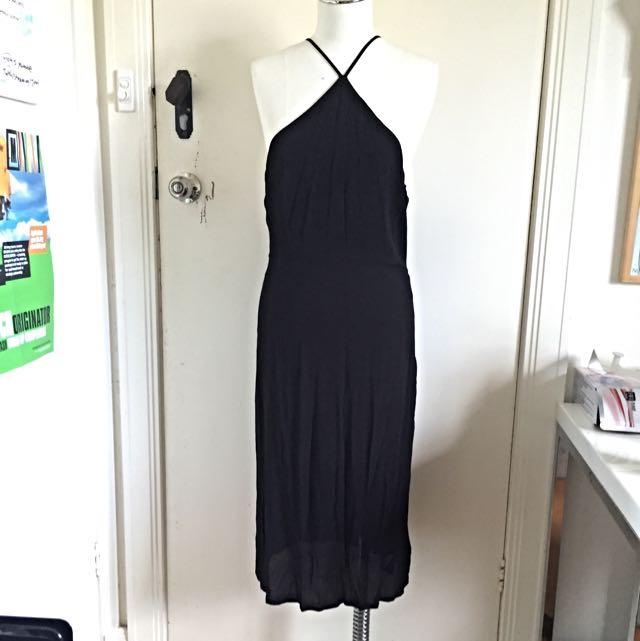 TOPSHOP Black Midi Cut-out Dress. Sz 14. AUD $30