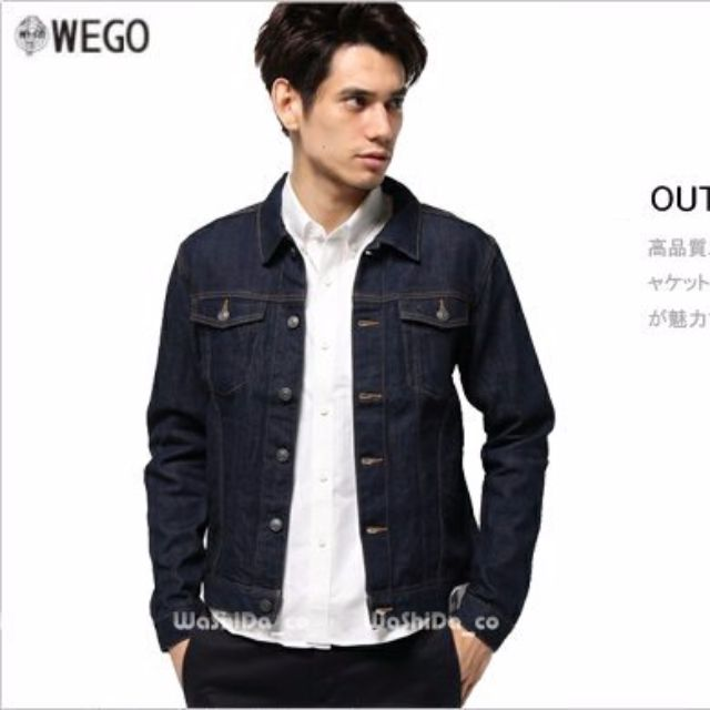 WEGO 日系品牌 硬挺口袋 牛仔夾克