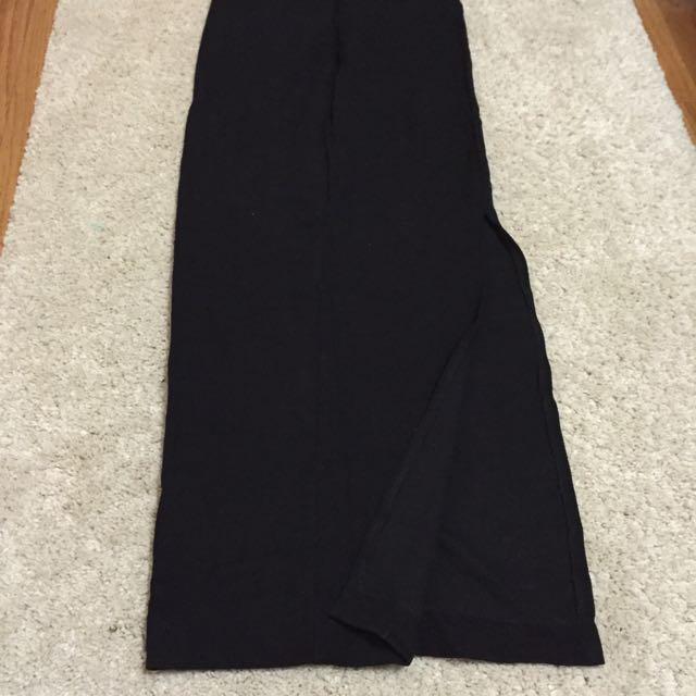 Zara Classic Black Maxi Skirt With Split -size 28