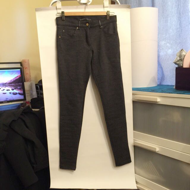 Zara Skinny Pants In Charcoal