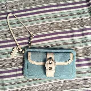Pale Blue Coach Wristlet/Clutch