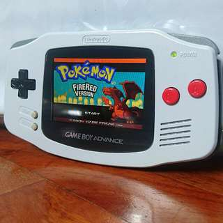 Nintendo Original Game Boy Advance AGB-001 With Custom NES Paintwork (Authentic + AGS-101 Backlight Modded + Glass Screen+Class D Sound Amplifier)
