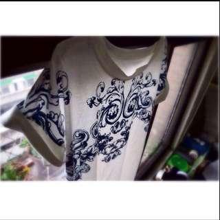 民族風白色圖騰短袖T恤
