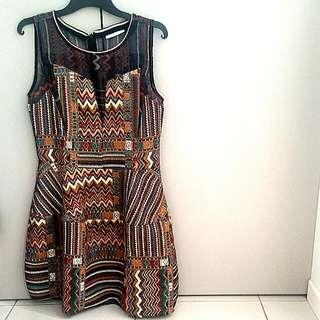 Zig Zag Jacquard Dress W Sheer Panels & full Skirt.
