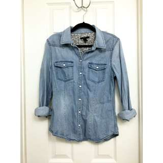 Forever 21   Blue Light Wash Denim Shirt
