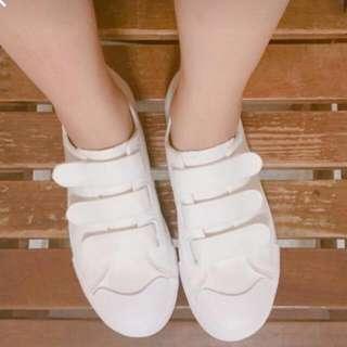 魔鬼氈小白鞋帆布鞋
