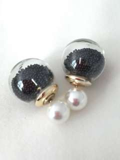 Double Sided Crystal Ball Earrings - Black