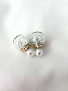 Double Sided Crystal Ball Earrings - White