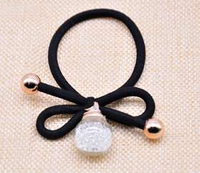 Single Crystal Ball Hair Rubber Band - White