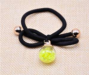 Single Crystal Ball Hair Rubber Band - Yellow