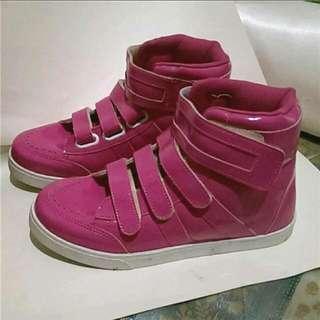 富發牌漆皮魔鬼氈高筒鞋 粉紫玫紅 24.5 / 39#500元好女鞋