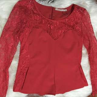 RED LACE NIGHT OUT TOP