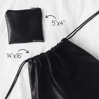 Leather Drawstring & Leather Pouch