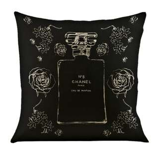 BRAND NEW CHANEL No 5 PARFUM BLACK/NEUTRAL LINEN/COTTON DECOR CUSHION COVER