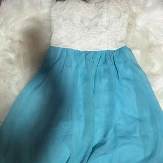 LACE WHITE & SKY BLUE SUMMER DRESS