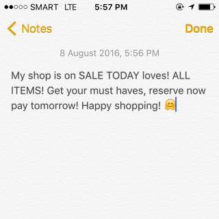 SALE TODAY ALL ITEMS