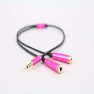 ★★ 3.5mm Stereo Headphone Audio Male To 2 Female Y Splitter Cable Adapter Jack ★★ Rose Pink ★★