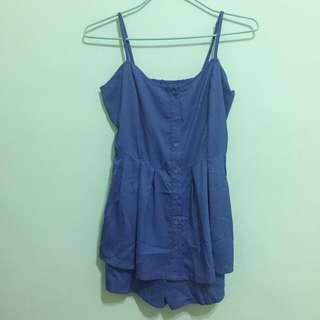 細肩洋裝,褲裙,寶藍色