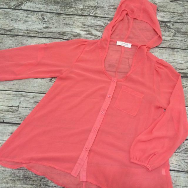 韓國🇰🇷設計款西瓜紅連帽扣子雪紡襯衫外套罩衫防曬長袖縮口傘狀
